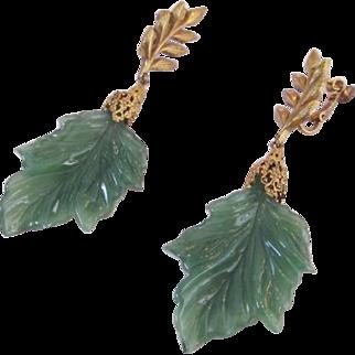 Miriam Haskell Long Green Leaf Earrings