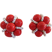 Miriam Haskell Signed Red and White Bead Earrings