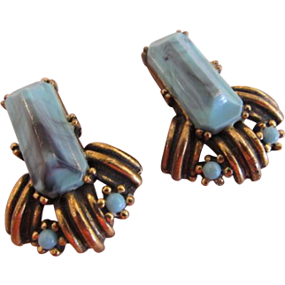 Selro Aqua Lucite Earrings
