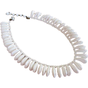 Miriam Haskell Signed White Bear Claw Bead Bib Necklace
