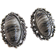 Selro Gray Lucite Cabochon Earrings