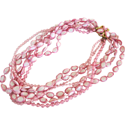 Celluloid Pink and White Multi-Strand Necklace Lucite Early Plastic