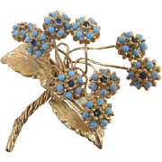 Cadoro Signed Aqua and Blue Floral Rhinestone Cabochon Brooch