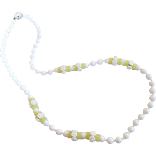 Miriam Haskell Signed White Milk Glass and Yellow Bead Long Necklace