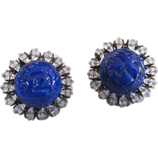 Miriam Haskell Signed Cobalt Blue Art Glass and Crystal Earrings