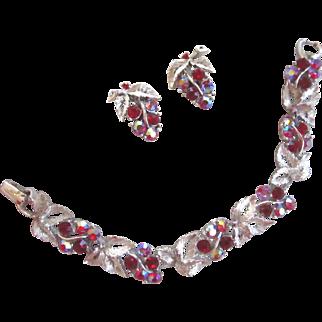 Lisner Signed Red Rhinestone Leaves Bracelet and Earrings Demi-Parure Set Silver Tone