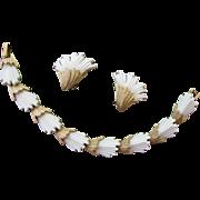 Trifari Signed White Lucite Bracelet and Earrings Set Gold Tone Demi Parure