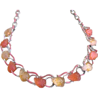 Star Signed Lucite Pinkish Orange Leaves Necklace Thermoset Silver Tone Enamel Book Chain Bookchain