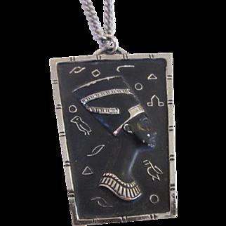 Blackamoor Queen Nefertiti Black Enamel Egyptian Revivial Pendant Necklace Silver Tone