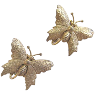 Miriam Haskell Signed Butterfly Earrings Gold Tone