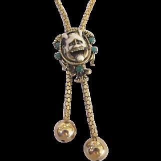 Florenza Unsigned Noh Devil Mask Lariat Necklace