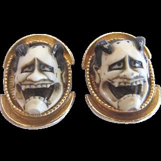 Florenza Unsigned Noh Devil Mask Earrings