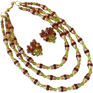 Versatile Carnival Glass Necklace and Earrings Demi Parure Set Green and Amber Colored Three Strands Rhinestone Clasp