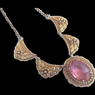 Art Deco Pink Rhinestone Gold Tone Pendant Necklace