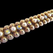 Weiss Aurora Borealis Rhinestone and Simulated Pearl Bracelet Gold Tone Beads