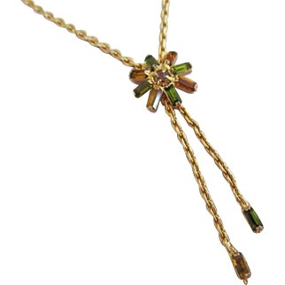 Hobe Rhinestone Lariat Necklace Green and Gold Tone
