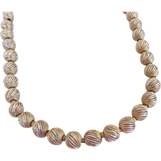 Eugene Signed Gold Tone Brushed Bead Necklace