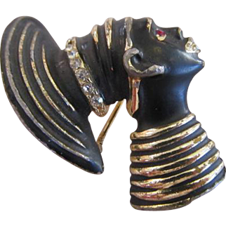 Blackamoor Nubian Princess Brooch with Rhinestones in Gold Tone