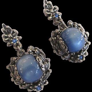 Selro Selini Blue Thermoset Rhinestone Earrings Lucite in Silver Tone