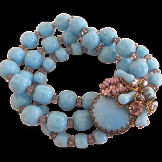 Miriam Haskell Aqua Blue and Purple Bead and Rhinestone Bracelet Signed