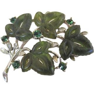 Lisner Green Lucite Leaf and Rhinestone Brooch