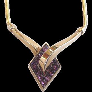 Trifari Purple Invisibly Set Rhinestone Necklace Alfred Philippe Patent Pending