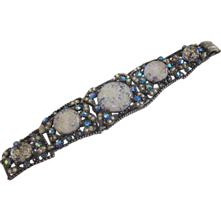 Selro Blue Rhinestone and Lucite Confetti Bracelet with Simulated Pearls