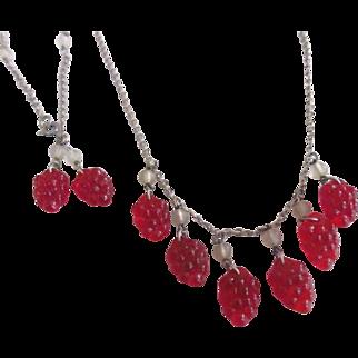 Raspberry Necklace and Bracelet Demi Parure Set Glass Fruit Beads