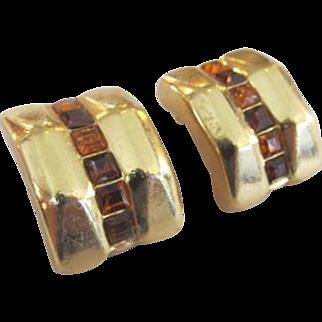 Christian Dior Amber Colored Rhinestone Earrings Gold Tone
