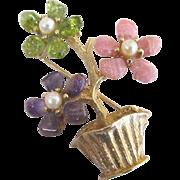 Swoboda Cultured Pearl Amethyst Peridot Floral Brooch