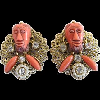 Rare Selro Orange Asian Devil Mask Rhinestone Earrings Simulated Pearls Filigree