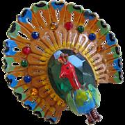 Art Deco Celluloid Peacock Turkey Rhinestone Brooch Pin