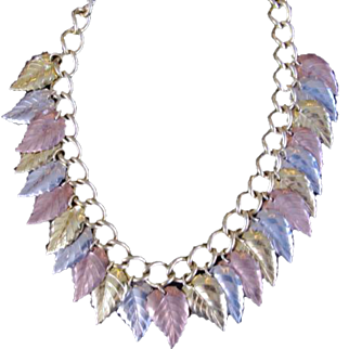 Miriam Haskell Metal Leaves Bib Necklace Silver Gold & Copper Colored Beads