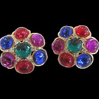 Mogul Jewel Tone Cabochon and Rhinestone Earrings Red Blue Green Purple