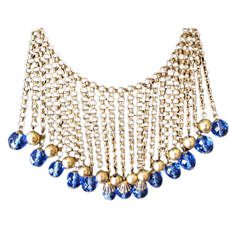 Miriam Haskell Blue Bead Bib Necklace Early Unsigned