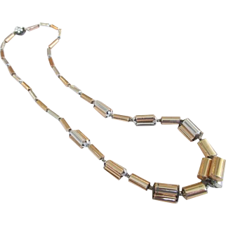 Miriam Haskell Gold and Silver Tone Tube Bead Necklace Signed