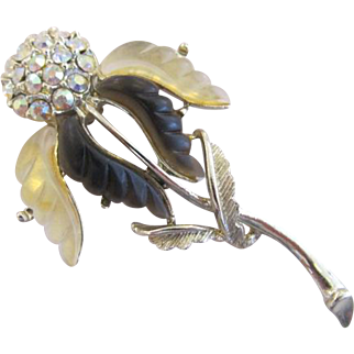 Lucite and Rhinestone Thistle Brooch Pin Thermoset Aurora Borealis