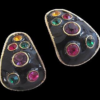 Black Enamel Mogul Gripoix Rhinestone Earrings Jewel Tones