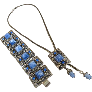 Selro Lariat Necklace and Bracelet Set Blue Cabochons Rhinestones and Simulated Pearls