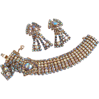Hobe Aurora Borealis Rhinestone Bracelet and Earrings Demi Parure Set