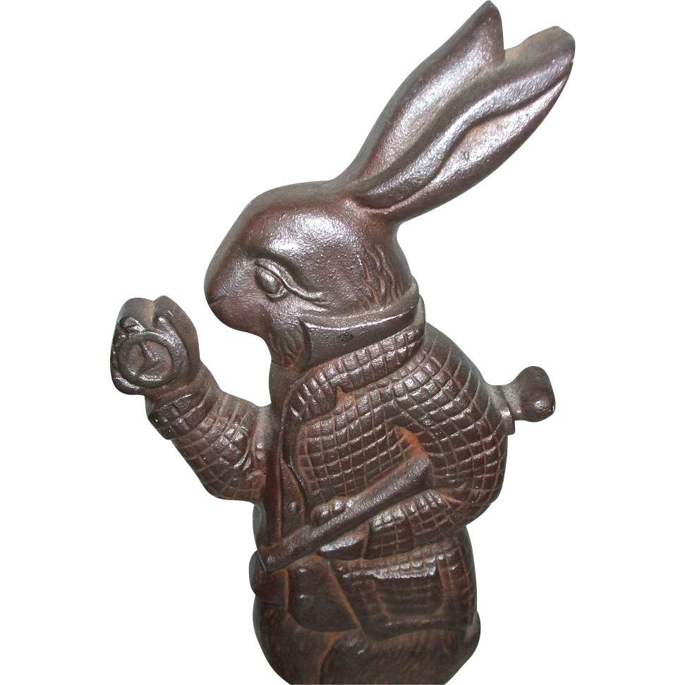 Alice In Wonderland White Rabbit Character Cast Iron Doorstop