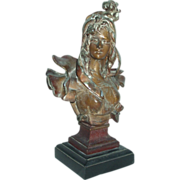 Beautiful Art Nouveau Bronzed Metal Lady Bust