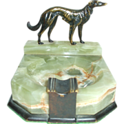 Great Wolfhound Art Deco Green Onyx Ashtray