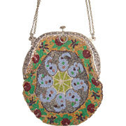 Amazing Antique Beaded Spider Web Design Purse