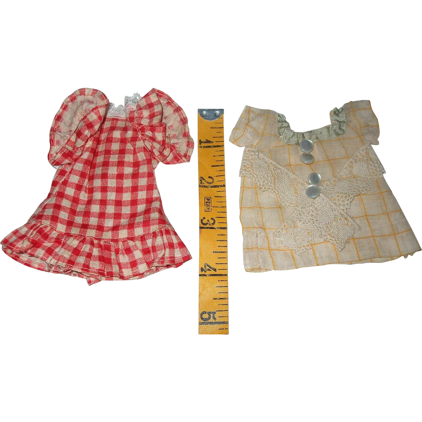 Set Of Two Vintage Tiny Doll Dresses