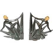 Wonderful Art Deco Bookends Female Forms In The Metropolis Style With Celluloid Heads