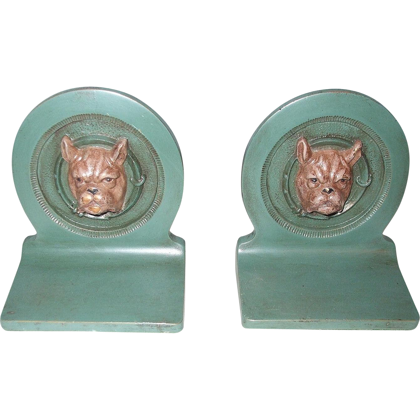 Small Bulldog Cast Metal 3D Bookends