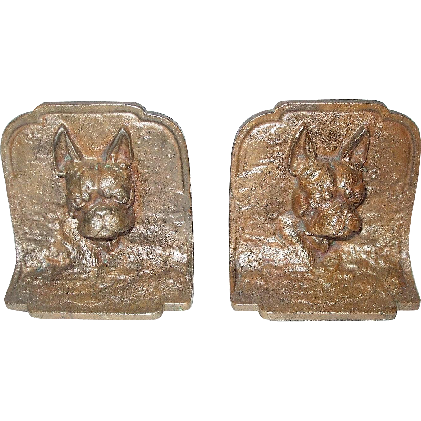 Boston Terrier Dog 3D Cast Metal Bookends