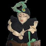 "Early All Original Lenci 20"" Pierrot Boudoir Doll"
