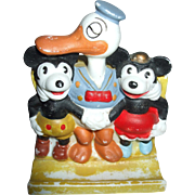 Mickey Mouse Minnie Mouse And Donald Duck Toothbrush Holder 1930's